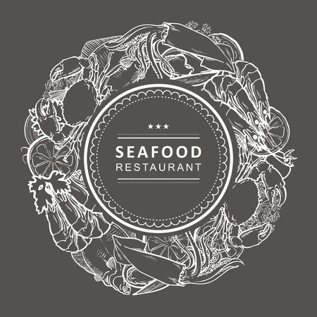 Vector seafood restaurant, cafe logo, advertising poster with circle underwater animals monochrome pattern. Marine composition with crawfish, lobster flatfish squid with lemon slice chalk on black
