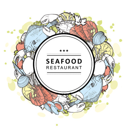 Vector seafood restaurant, cafe logo, advertising poster with circle underwater animals sketch pattern on abstract splash. Marine composition with crawfish, lobster flatfish mussels with lemon slice  イラスト・ベクター素材
