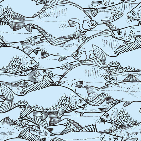 Vector illustration of blue fishes seamless pattern in sketch style - backdrop with freshwater edible marine animals. Backdrop or texture with hand drawn raw eatable fish for seafood concept. Ilustracja