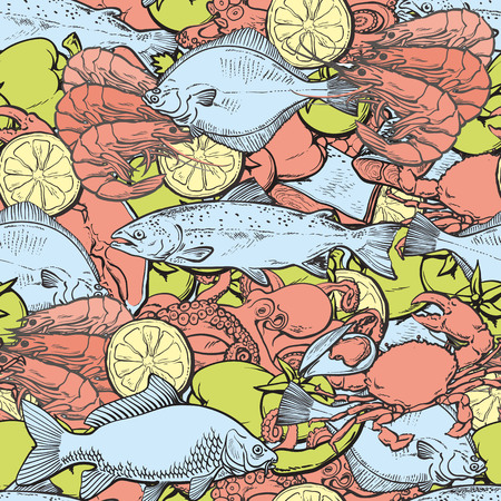 vector sketch seafood seamless pattern with seafood delicacy. Sea trout octopus lobster shripms crawfish flatfish and vegetables. Hand drawn restaurant and marine cafe menu, packaging design. Illustration