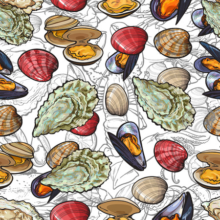 vector sketch seafood seamless pattern with seafood delicacy colored seashell mussels and oyster on monochrome lobsters. Hand drawn restaurant and marine cuisine cafe menu, product packaging design. Иллюстрация