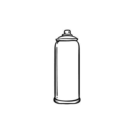 Spray paint in metal container for drawing street wall graffiti in sketch style isolated on white background - symbol of aerosol paint in hand drawn vector illustration.