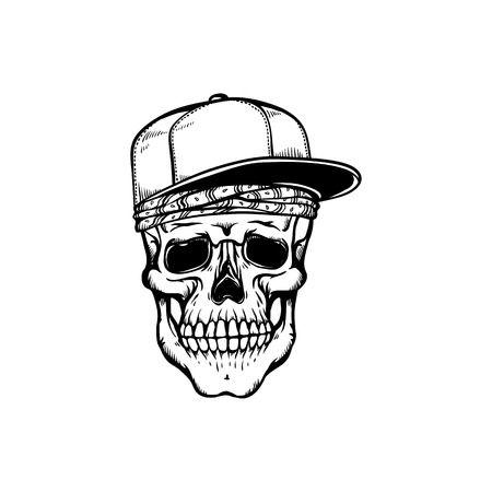 Human skull in hip-hop or rap style headwear - bandana and baseball cap in sketch style isolated on white background. Skeletal bone in youth snapback in hand drawn vector illustration. Иллюстрация
