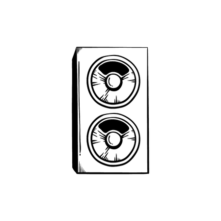 Stereo speakers for playing club or concert music in sketch style isolated on white background - big loudspeakers for party or entertainment design in hand drawn vector illustration. Illustration