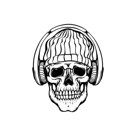 Human skull in hip-hop or rap style headwear - knit hat and headphones in sketch style isolated on white background. Skeletal bone with earphones in hand drawn vector illustration.