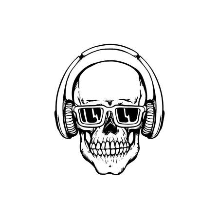 Human skull with headphones and sunglasses in sketch style isolated on white background - skeletal bone in hip-hop or rap style with earphones and eyewear in hand drawn vector illustration. Illustration