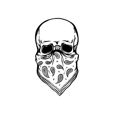 Human skull with bandana as face mask in sketch style isolated on white background - skeletal bone in rock or rap style with kerchief in hand drawn vector illustration.