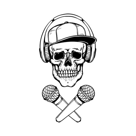 Sketch skull in cap, headphones with crossed microphones black silhouette icon. Rap, hip hop battle, party symbol. Vector isolated illustration. Archivio Fotografico - 125271133