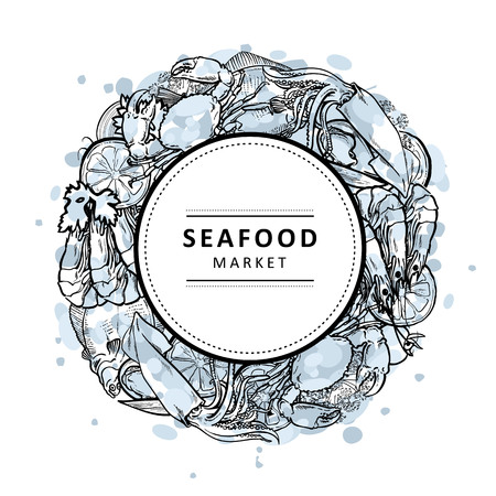 Vector illustration of blue seafood market banner with various aquatic edible animals and spices formed as circle with white label on top - hand drawn outline sea and ocean food.