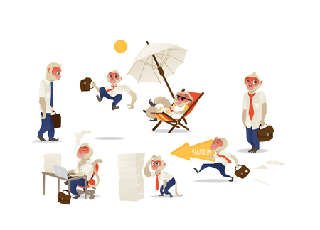 Vector funny monkey office character set. Primates standing with suitcase, sitting at workplace smoking like a boss, puzzled with papers heap, happily going to vacation. Isolated illustration