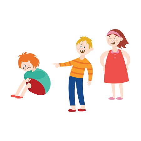 Vector concept of bullying and children harassment. Lonely redhead boy victim sitting holding knees with sad depressed face with children laughing and pointing to him.