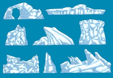 Hummock de glace de vecteur, jeu d'icônes de différentes formes d'iceberg. Glacier au sol, montagne de glace dérivante polaire. Environnement arctique et objet de conception de paysage. Élément infographique écologique de l'eau gelée
