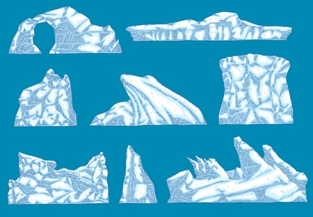 Vector ice hummock , iceberg different shapes icon set. Ground glacier, polar drifting ice mountain. Arctic environment and landscape design object. Frozen water ecological infographic element