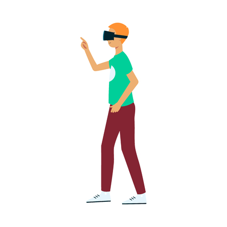 Vector flat young man in virtual reality headset pointing something out by finger. Smiling male character in VR goggless enjoying cyberspace. Modern visual technologies concept. 向量圖像