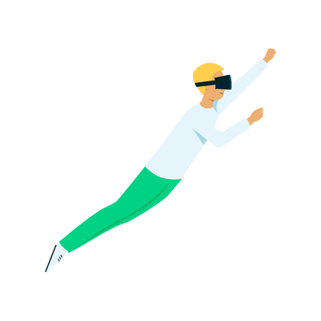 Vector flat young man in virtual reality headset pointing flying like superman. Smiling male character in VR goggless enjoying cyberspace. Modern visual technologies concept. 向量圖像