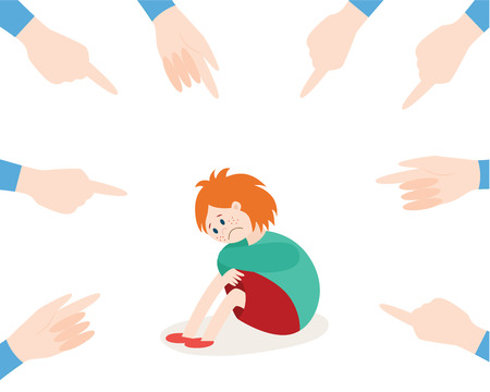 Vector concept of bullying and children harassment. Lonely girl kid victim sitting holding knees with sad depressed face with hands pointing to him. Illusztráció