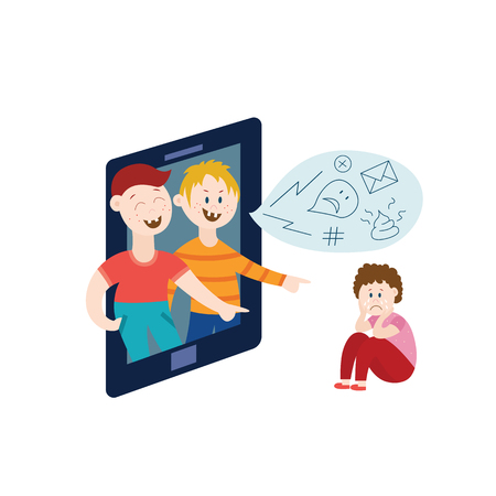 Vector concept of bullying and children harassment. Lonely boy victim sitting holding knees with sad depressed face with children from laptop laughing sending negative messages and pointing to him.