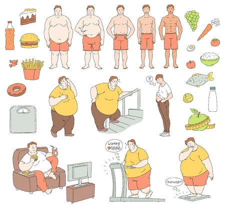 Vector healthy eating and sportive lifestyle characters and food and unhealthy fastfood diet and obesity men. Obese people with belly fat suffering from overweight, fit handsome men collection. Illustration