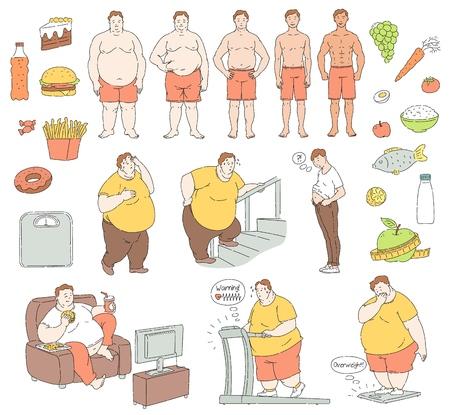 Vector de caracteres de alimentación saludable y estilo de vida deportivo y comida y dieta de comida rápida poco saludable y hombres con obesidad. Las personas obesas con grasa abdominal que sufren de sobrepeso, encajan en la colección de hombres guapos.