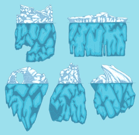 Vector iceberg different shapes icon set. Underwater glacier, polar drifting ice mountain in ocean. Arctic environment and landscape design object. Floating frozen water ecological infographic element