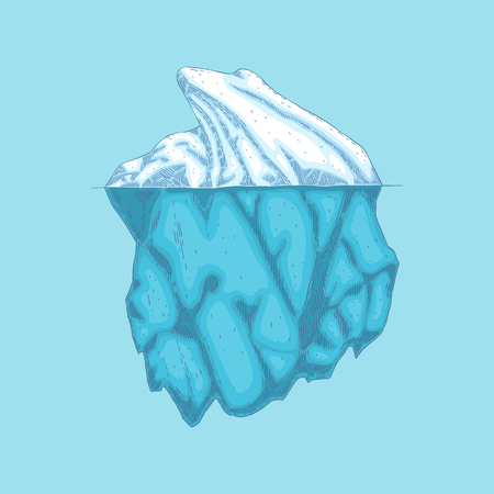 Vector iceberg hand drawn icon. Underwater glacier, polar drifting ice mountain in ocean. Arctic environment and landscape design object. Floating frozen water, ecological infographic element. Illustration