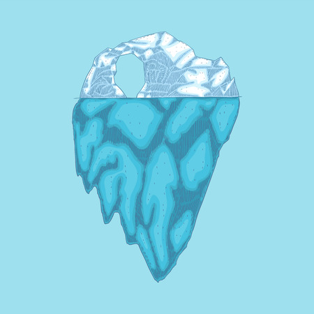 Vector iceberg hand drawn icon. Underwater glacier, polar drifting ice mountain in ocean. Arctic environment and landscape design object. Floating frozen water, ecological infographic element. Banque d'images - 125061526