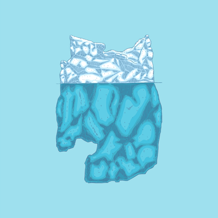 Vector iceberg hand drawn icon. Underwater glacier, polar drifting ice mountain in ocean. Arctic environment and landscape design object. Floating frozen water, ecological infographic element. Illusztráció