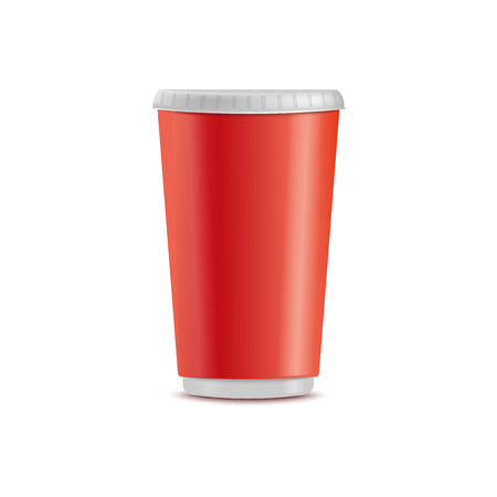 Vector red plastic cup. Disposable beverage container for party, takeaway drinks or outdoor picknics, barbecue. Empty juice, water or alcohol drinks container, hot coffee, tea cup mockup illustration
