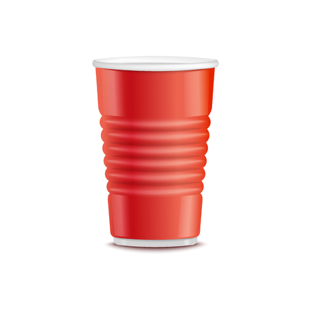 Vector red plastic cup. Disposable beverage container for party, takeaway drinks or outdoor picknics, barbecue. Empty juice, water or alcohol drinks container, hot coffee, tea cup mockup illustration Stockfoto - 117386775