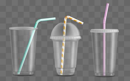 Vaso de plástico transparente de vector con juego de pajita. Recipiente de bebida desechable para fiesta, bebidas para llevar o picknics al aire libre, barbacoa. Maqueta de contenedor de bebidas de cócteles de jugo, agua o alcohol vacío Ilustración de vector