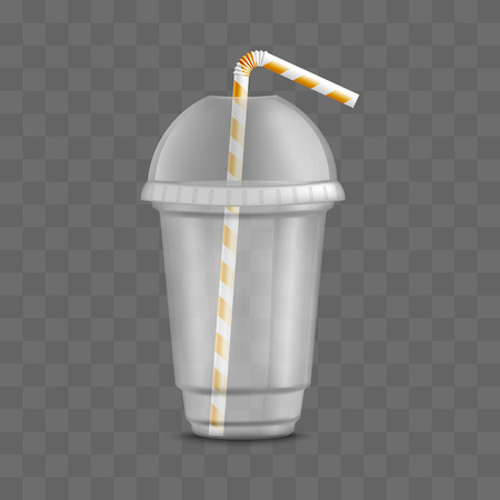 Vector transparent plastic cup with straw and lid. Disposable beverage container for party, takeaway drinks or outdoor picknics. Empty juice, water or alcohol cocktails, fresh drinks container mockup Ilustração