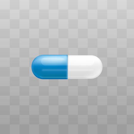 Wektor kapsułka pigułka na przezroczystym tle. Ból głowy, lek leczniczy na ból brzucha. Środek przeciwbólowy, tabletka witaminowa, lekarstwo. Produkt farmaceutyczny do projektowania opieki zdrowotnej. Ilustracje wektorowe