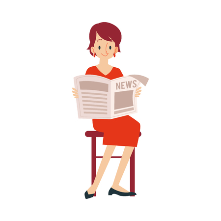An adult woman sits on a chair in her red dress and reads a newspaper with the news. A woman reads a newspaper and news, isolated vector illustration on white background in flat cartoon style.