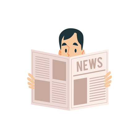 An adult man holding a newspaper in his hands and reading the news, vector illustration in flat cartoon style.