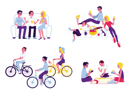 Vector friends hanging out together set. Male, female young characters riding bikes, playing card games, going out outdoor at picnic, chatting sitting at chair. Teen guys, girls having fun together.