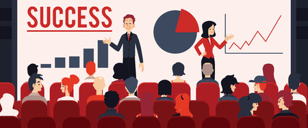 Vector annual report, new corporate strategy concept with two managers woman and man in suit in front of big audience performing speech. Two speakers, coaches at corporate training or seminar.