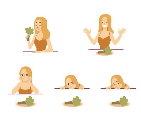 Vector ajuste conjunto de brócoli degustación de mujer joven. Feliz niña sonriente tratando de comer vegetales, el personaje femenino triste no le gusta la comida insípida. Problemas del concepto de dietas duras. Ilustración aislada