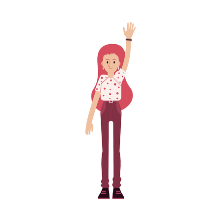 Young smiling red haired woman in a tshirt and pants raised her hand up. Isolated vector illustration in flat cartoon style on white background.