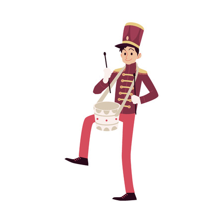 Parade and marching band participant, young drummer playing drum. Parade musician with a drum and drum sticks. Isolated vector man in flat cartoon style on white background. Ilustrace