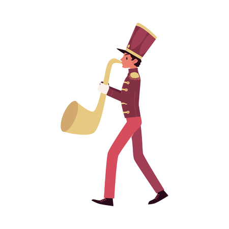 Parade and marching band participant, a red faced saxophone player plays a saxophone or trumpet. Parade musician with a trumpet. Isolated vector man in flat cartoon style on white background. Çizim