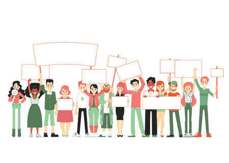 Big group of people, crowd of men and women standing together and holding blank banners and posters, vector illustration of parade in a flat cartoon style isolated on white background. Иллюстрация