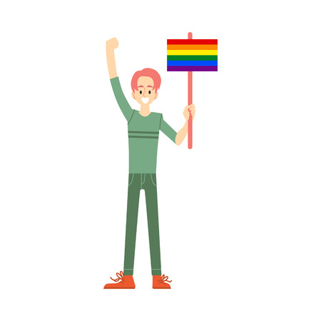 A young smiling white ginger man and gay in pants and sweater holds a poster or a banner with a rainbow. Element lgbt and gay parade, protest. Flat vector illustration with lgbt man.