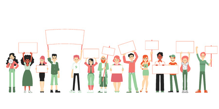 Big group of people, men and women standing together and holding blank banners and posters, vector illustration of parade in a flat cartoon style isolated on white background. Иллюстрация
