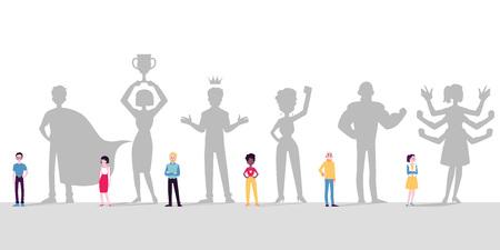 Persone diverse, uomini e donne, si immaginano supereroi con superpoteri, re, vincitori, leader. Le persone con le ombre sognano. Illustrazione vettoriale in stile cartone animato piatto.