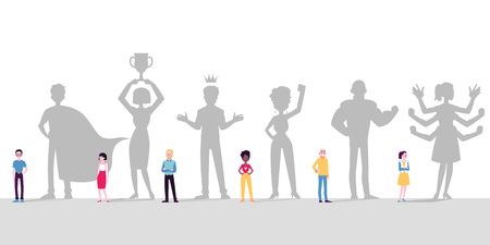 Verschillende mensen, mannen en vrouwen zien zichzelf als superhelden met superkrachten, koningen, winnaars, leiders. Mensen met schaduwen dromen. Vectorillustratie in een platte cartoon-stijl.