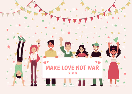 Smiling people holding a poster or a banner Make love, not war. Pacifists and hippies, young men and women protest against the war and celebrate peace. Flat vector illustration in cartoon style.