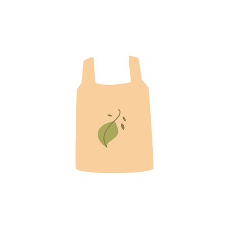 Shopping reusable grocery cloth bag with green leaf in a flat style. Zero waste concept, isolated vector illustration on white background.