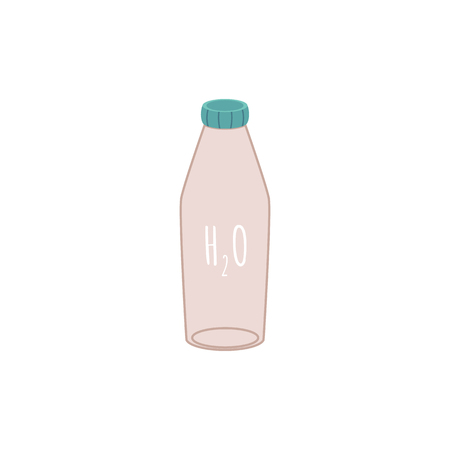 Reusable water eco bottle in flat style. No plastic water bottle, zero waste concept. Isolated vector illustration on white background.