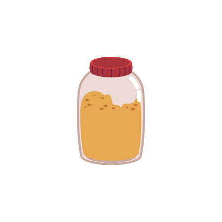 Glass jar for storage of food residues or leftovers in a flat style. Eco no plastic and zero waste concept. Isolated vector illustration of glass jar on white background.