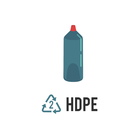 Plastic recycling icon, symbol and sign HDPE, PEHD. Types of plastic recycling with high density polyethylene blue bottle, isolated vector illustration on white background.